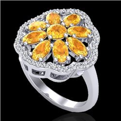 3 CTW Citrine & VS/SI Diamond Cluster Designer Halo Ring 10K White Gold - REF-52N2A - 20777