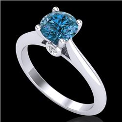 1.08 CTW Fancy Intense Blue Diamond Solitaire Art Deco Ring 18K White Gold - REF-161W8H - 38202