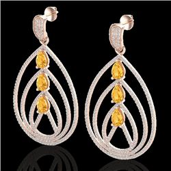 4 CTW Citrine & Micro Pave VS/SI Diamond Certified Earrings 14K Rose Gold - REF-307H3M - 22453