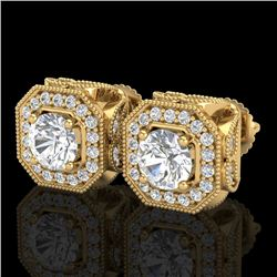 2.75 CTW VS/SI Diamond Solitaire Art Deco Stud Earrings 18K Yellow Gold - REF-472K7W - 37324