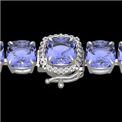 40 CTW Tanzanite & Micro Pave VS/SI Diamond Halo Bracelet 14K White Gold - REF-548V2Y - 23324