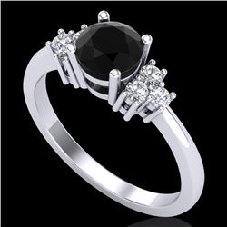 1 CTW Fancy Black Diamond Solitaire Engagement Classic Ring 18K White Gold - REF-80V2Y - 37590