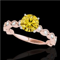 1.75 CTW Certified SI/I Fancy Intense Yellow Diamond Solitaire Ring 10K Rose Gold - REF-272X7R - 348