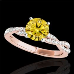 1.25 CTW Certified SI/I Fancy Intense Yellow Diamond Solitaire Ring 10K Rose Gold - REF-218F2N - 352