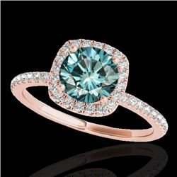 1.25 CTW SI Certified Fancy Blue Diamond Solitaire Halo Ring 10K Rose Gold - REF-172M7F - 33331