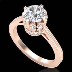 1.50 CTW VS/SI Diamond Art Deco Ring 18K Rose Gold - REF-399H3M - 36831