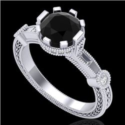 1.71 CTW Fancy Black Diamond Solitaire Engagement Art Deco Ring 18K White Gold - REF-123M6F - 37856