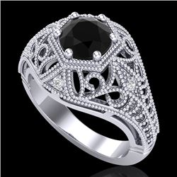 1.07 CTW Fancy Black Diamond Solitaire Engagement Art Deco Ring 18K White Gold - REF-85H5M - 37548