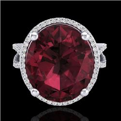 10 CTW Garnet & Micro Pave VS/SI Diamond Certified Halo Ring 18K White Gold - REF-80R2K - 20963