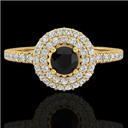 0.80 CTW Micro VS/SI Diamond Designer Ring 18K Yellow Gold - REF-59M5F - 20894