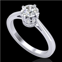 0.81 CTW VS/SI Diamond Art Deco Ring 18K White Gold - REF-135R8K - 36824