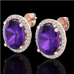 5 CTW Amethyst & Micro Pave VS/SI Diamond Certified Earrings Halo 14K Rose Gold - REF-63V3Y - 21041
