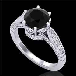 2.2 CTW Fancy Black Diamond Solitaire Engagement Art Deco Ring 18K White Gold - REF-141H8M - 38087