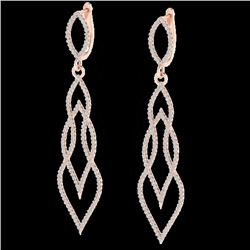 1.90 CTW Micro Pave VS/SI Diamond Certified Earrings 14K Rose Gold - REF-143W5H - 20093