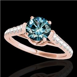 1.46 CTW SI Certified Fancy Blue Diamond Solitaire Ring 10K Rose Gold - REF-163W6H - 34967