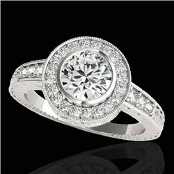 1.50 CTW H-SI/I Certified Diamond Solitaire Halo Ring 10K White Gold - REF-170X9R - 33891