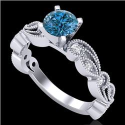 1.01 CTW Fancy Intense Blue Diamond Solitaire Art Deco Ring 18K White Gold - REF-143A6V - 38272