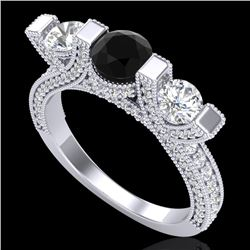2.3 CTW Fancy Black Diamond Solitaire Micro Pave 3 Stone Ring 18K White Gold - REF-200X2R - 37639