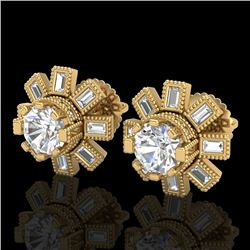 1.77 CTW VS/SI Diamond Solitaire Art Deco Stud Earrings 18K Yellow Gold - REF-263M6F - 37066