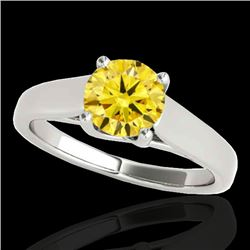 1 CTW Certified SI/I Fancy Intense Yellow Diamond Solitaire Ring 10K White Gold - REF-138N2A - 35532