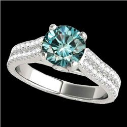 2.11 CTW SI Certified Fancy Blue Diamond Pave Ring 10K White Gold - REF-272X7R - 35469