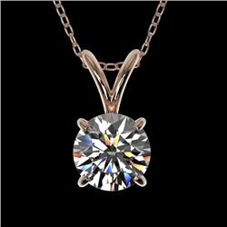 0.77 CTW Certified H-SI/I Quality Diamond Solitaire Necklace 10K Rose Gold - REF-97Y5X - 36740