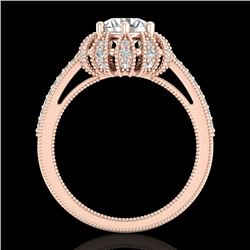 1.65 CTW VS/SI Diamond Solitaire Art Deco Micro Pave Ring 18K Rose Gold - REF-427K3W - 36993