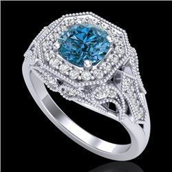1.75 CTW Fancy Intense Blue Diamond Solitaire Art Deco Ring 18K White Gold - REF-236F4N - 38279