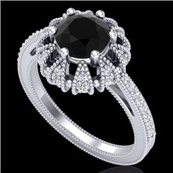 1.65 CTW Fancy Black Diamond Engagement Art Deco Micro Pave Ring 18K White Gold - REF-132X7R - 37723