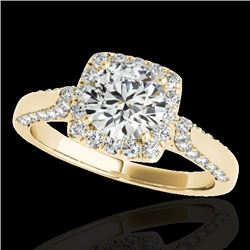 1.50 CTW H-SI/I Certified Diamond Solitaire Halo Ring 10K Yellow Gold - REF-176V4Y - 33366