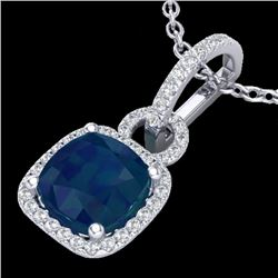 3 CTW Sapphire & Micro VS/SI Diamond Certified Necklace 18K White Gold - REF-72R5K - 22990