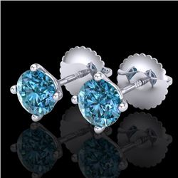 1.01 CTW Fancy Intense Blue Diamond Art Deco Stud Earrings 18K White Gold - REF-100A2V - 38230