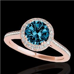 2.03 CTW SI Certified Fancy Blue Diamond Solitaire Halo Ring 10K Rose Gold - REF-252R7K - 33541