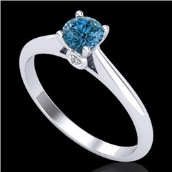 0.40 CTW Intense Blue Diamond Solitaire Engagement Art Deco Ring 18K White Gold - REF-80R2K - 38181