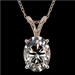1.25 CTW Certified VS/SI Quality Oval Diamond Solitaire Necklace 10K Rose Gold - REF-423F3N - 33212