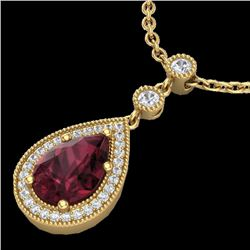 2.25 CTW Garnet & Micro VS/SI Diamond Certified Necklace Designer 18K Yellow Gold - REF-45H5M - 2313