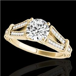 1.25 CTW H-SI/I Certified Diamond Solitaire Antique Ring 10K Yellow Gold - REF-214H5M - 34659