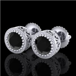 1.09 CTW Fancy Black Diamond Solitaire Art Deco Stud Earrings 18K White Gold - REF-50K2W - 37478