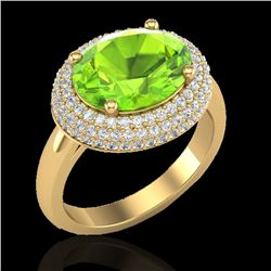 4.50 CTW Peridot & Micro Pave VS/SI Diamond Certified Ring 18K Yellow Gold - REF-116X2R - 20921