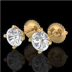 1.50 CTW VS/SI Diamond Solitaire Art Deco Stud Earrings 18K Yellow Gold - REF-309F3N - 37303