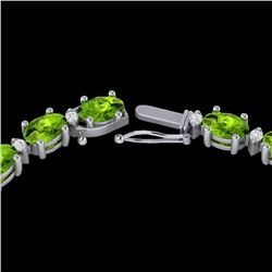34 CTW Peridot & VS/SI Diamond Certified Tennis Necklace White 10K White Gold - REF-213H6M - 21599