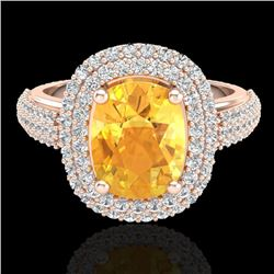 3.50 CTW Citrine & Micro Pave VS/SI Diamond Certified Halo Ring 14K Rose Gold - REF-98Y2X - 20714