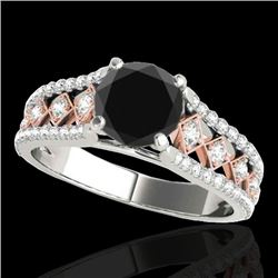 1.45 CTW Certified VS Black Diamond Solitaire Ring 10K White & Rose Gold - REF-76H4M - 35282
