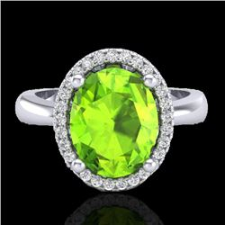 2.50 CTW Peridot & Micro Pave VS/SI Diamond Certified Ring Halo 18K White Gold - REF-54A7V - 21110