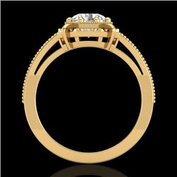 1 CTW VS/SI Diamond Solitaire Art Deco Ring 18K Yellow Gold - REF-318F3N - 36874