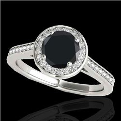 1.93 CTW Certified VS Black Diamond Solitaire Halo Ring 10K White Gold - REF-76Y9X - 33520