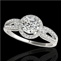 1.25 CTW H-SI/I Certified Diamond Solitaire Halo Ring 10K White Gold - REF-161X8R - 34087