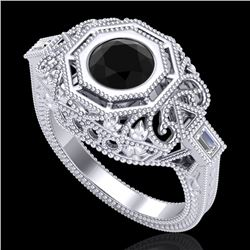 1.13 CTW Fancy Black Diamond Solitaire Engagement Art Deco Ring 18K White Gold - REF-140V2Y - 37821
