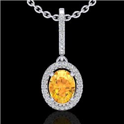 1.75 CTW Citrine & Micro Pave VS/SI Diamond Necklace Halo 18K White Gold - REF-58A5V - 20656