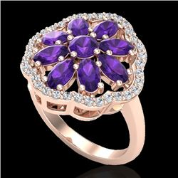 3 CTW Amethyst & VS/SI Diamond Cluster Designer Halo Ring 10K Rose Gold - REF-52R2K - 20770